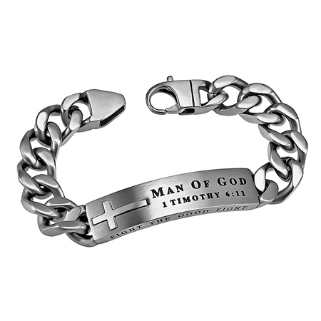 Silver Bracelets With Scripture For Men