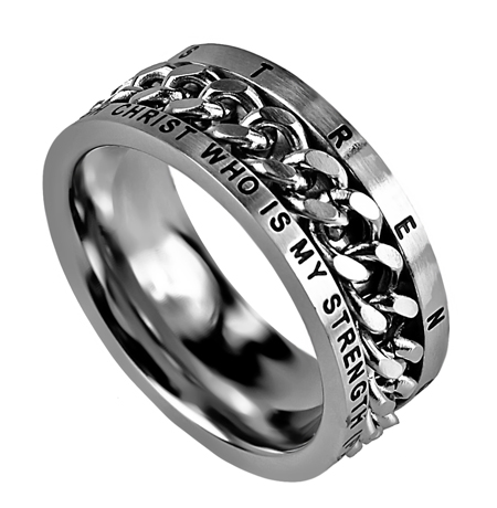 Bible Verse Ring With Chain Silver Armour In Truth